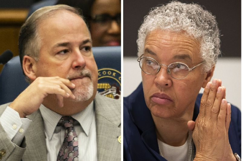 Cook County Commissioner Sean Morrison, left, in 2019; Cook County Board President Toni Preckwinkle, right, in 2019.