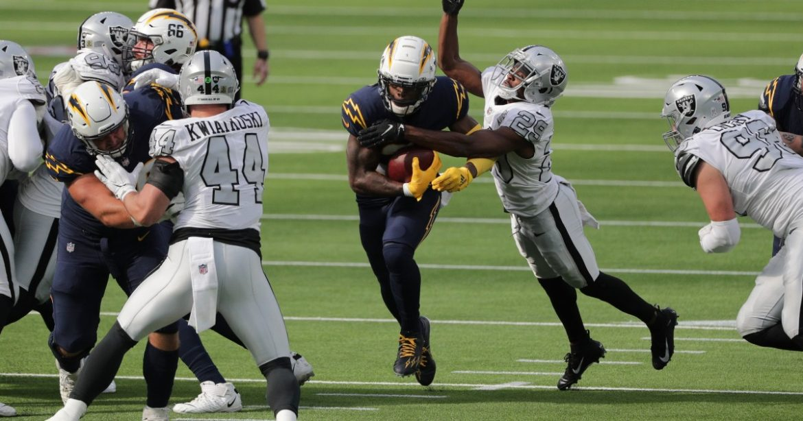 Kalen Ballage keeps Chargers' offense running in loss to Raiders