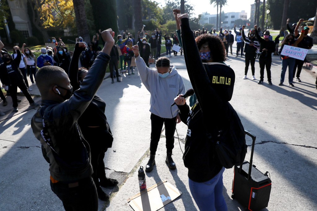 Protesters gather at Garcetti's official residence for 7th day, aiming to block Biden cabinet role