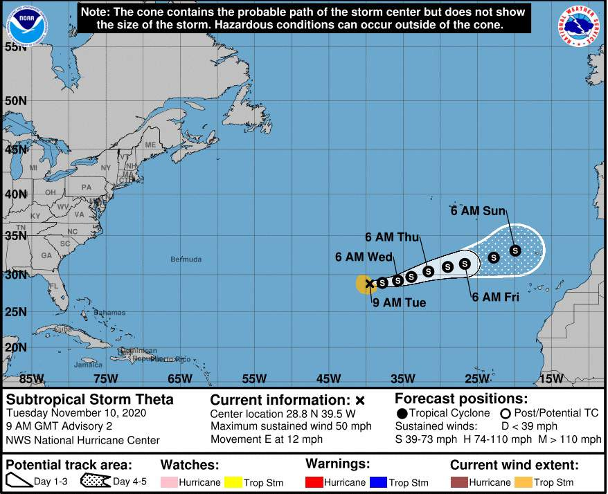 Forecasters: Theta forms, record 29th named Atlantic storm
