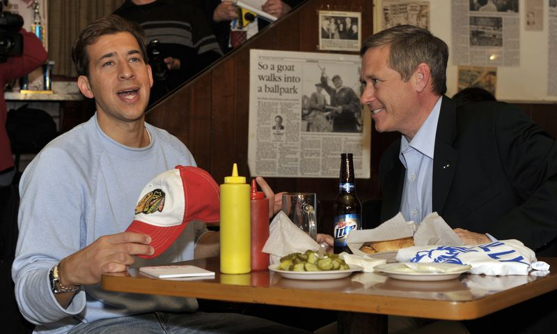 Democrat Alexi Giannoulias meets with Republican Senator-elect Mark Kirk at Billy Goat's Tavern a day after Kirk won their 2010 election contest for U.S. Senate.