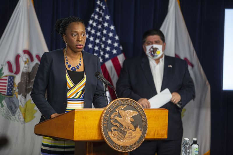 Illinois Department of Public Health Director Dr. Ngozi Ezike during a daily COVID-19 update last month.