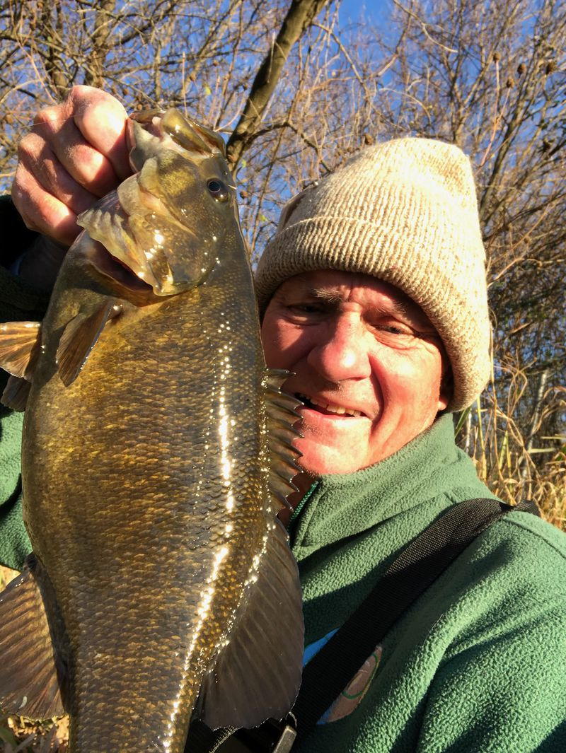 George Peters with a Kankakee River smallmouth bass. Provided photo