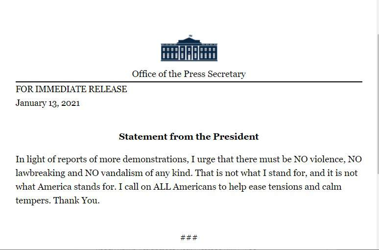 Trump issues statement from White House addressing news of more demonstrations