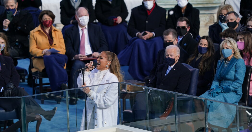 Jennifer Lopez sang classic tributes to America at the inauguration.