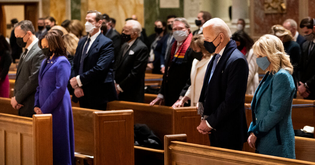 Biden began Inauguration Day by attending Mass with congressional leaders.