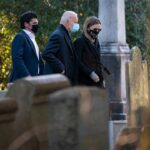 Lone man seen kneeling at Beau Biden's grave during inauguration