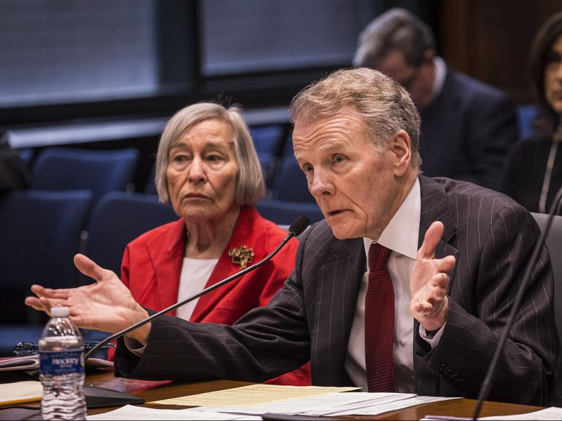 House Speaker Michael Madigan, with House Majority Leader Barbara Flynn Currie, at a committee hearing in 2017 on a sexual harassment bill.