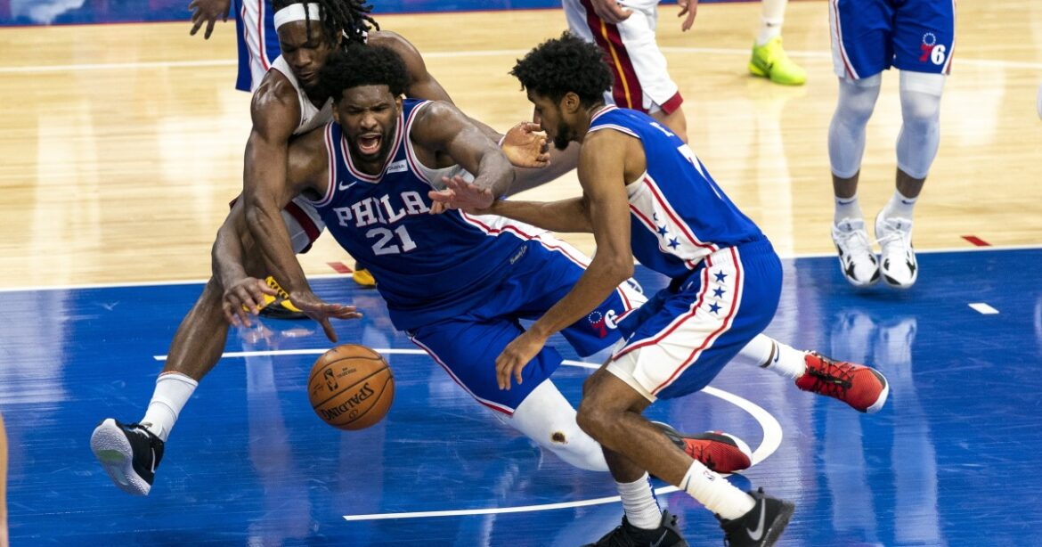 NBA: Joel Embiid scores 45, Dakota Mathias' OT three lifts 76ers over Heat