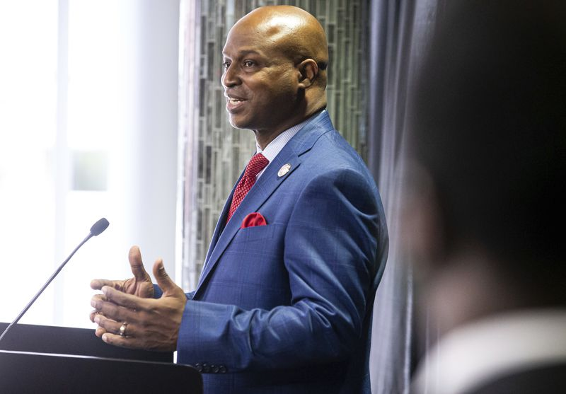 """State House Speaker Emanuel """"Chris"""" Welch, D-Hillside, holds his first news conference after being sworn in at the Bank of Springfield Center, earlier this month."""