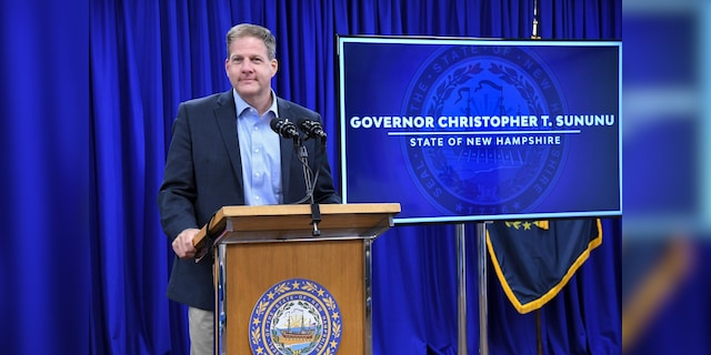 Gov. Chris Sununu of New Hampshire holds a coronavirus pandemic briefing