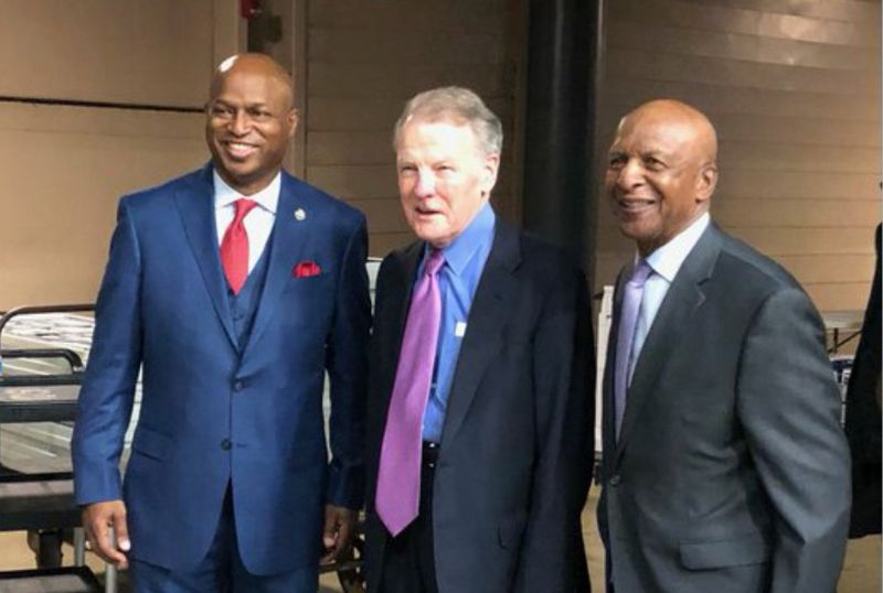 """State Rep. Emanuel """"Chris"""" Welch, left, outgoing Speaker Mike Madigan, center, and Illinois Secretary of State Jesse White pose before new member of the House are sworn in on Wednesday."""