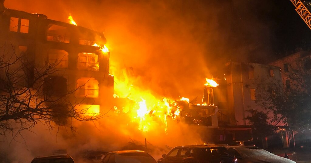 A Texas apartment building burned while firefighters scrambled for water.