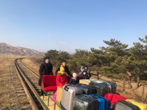 Russian diplomats exit North Korea by hand-pushed trolley