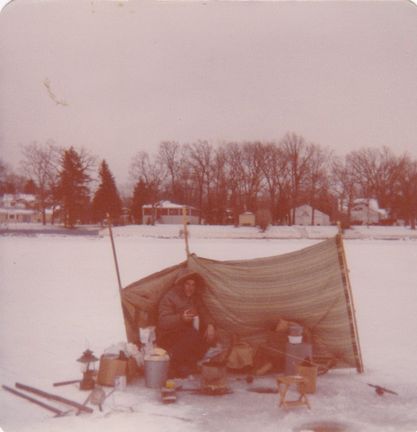"Dave Brandes found a photo from his first ice-fishing trip in the late '70s on Lake Catherine on the Chain O'Lakes. ""I talked my uncle into it and we brought everything we owned and had no idea what we were doing. We had our long open-water poles to use and chopped through almost two feet of ice with a tire iron. We caught one fish that day a small perch, but it was the beginning of lifelong passion for my uncle and me."" Provided photo"