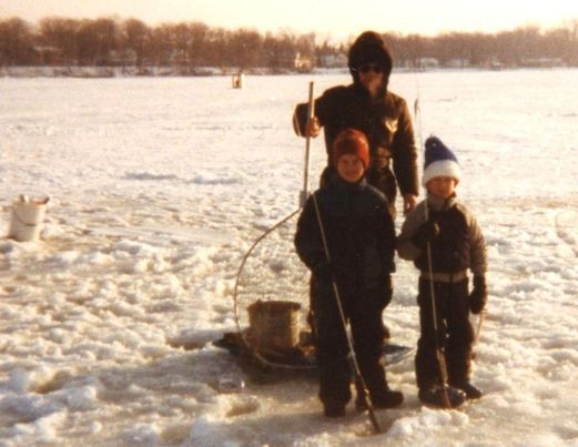 "Ron Wozny dug up this photo from the 1980s on the Chain O'Lakes. ""I see a dad and two kids walking out from the Sandbar towards us. Dad tells me his kids wanting to try ice fishing and he walked them out. We were on some big whites and the kids landed a few. Hopefully, they remember the day as well as I do."" Credit: Ron Wozny"