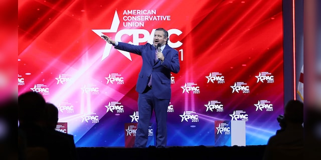 Sen. Ted Cruz (R-TX) addresses the Conservative Political Action Conference held in the Hyatt Regency on February 26, 2021 in Orlando, Florida. (Photo by Joe Raedle/Getty Images)