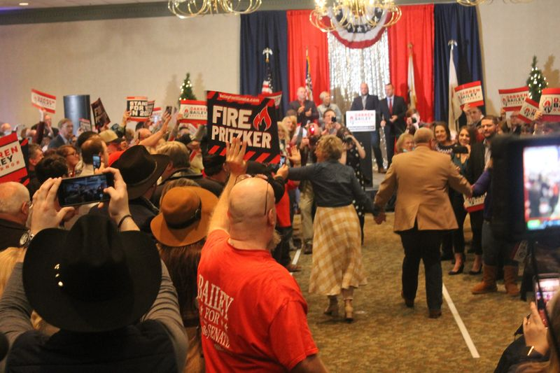 State Sen. Darren Bailey and his wife, Cindy, enter the Thelma Keller Convention Center in Effingham to kick off the Republican lawmaker's gubernatorial campaign on Monday.