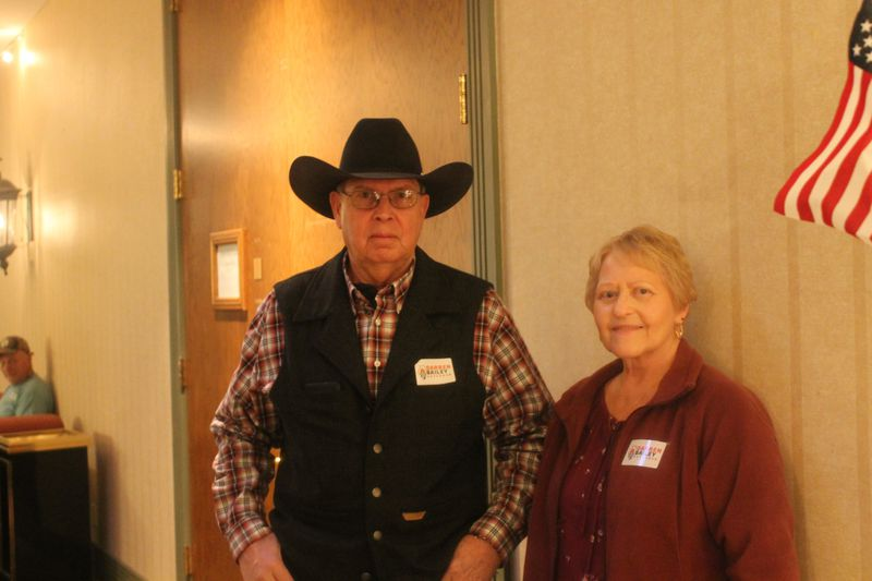 Ray and Janet Blade at state Sen. Darren Bailey's gubernatorial campaign kick-off in Effingham, Ill., on Monday.