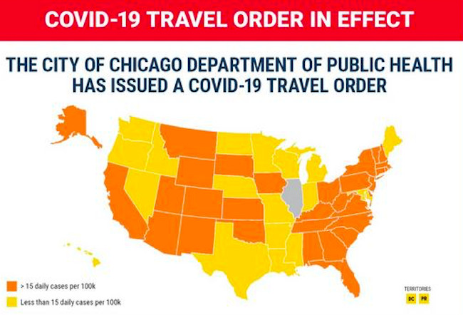 Chicago's updated COVID-19 travel order goes into effect Friday.