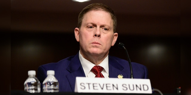 Former U.S. Capitol Police Chief Steven Sund testifies before a Senate Homeland Security and Governmental Affairs & Senate Rules and Administration joint hearing on Capitol Hill, Washington, Tuesday, Feb. 23, 2021, to examine the Jan. 6 attack on the Capitol. (Erin Scott/The New York Times via AP, Pool)