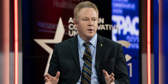 Rep. Warren Davidson, R-Ohio, speaks at the Conservative Political Action Conference (CPAC) on Saturday, Feb. 27. Davidson told Fox News he is considering a run for Ohio governor in 2022. Incumbent Republican Gov. Mike DeWine is eligible for reelection. (Getty)