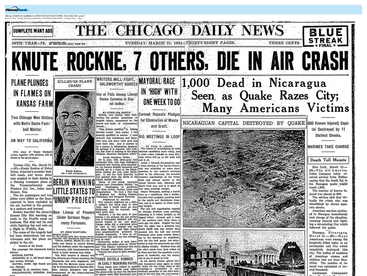 90 years ago, Knute Rockne's death in a plane crash shocked America and changed aviation