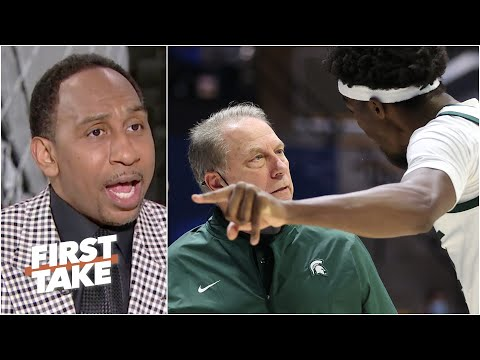 Stephen A. reacts to Tom Izzo's heated exchange with a Michigan State player | First Take