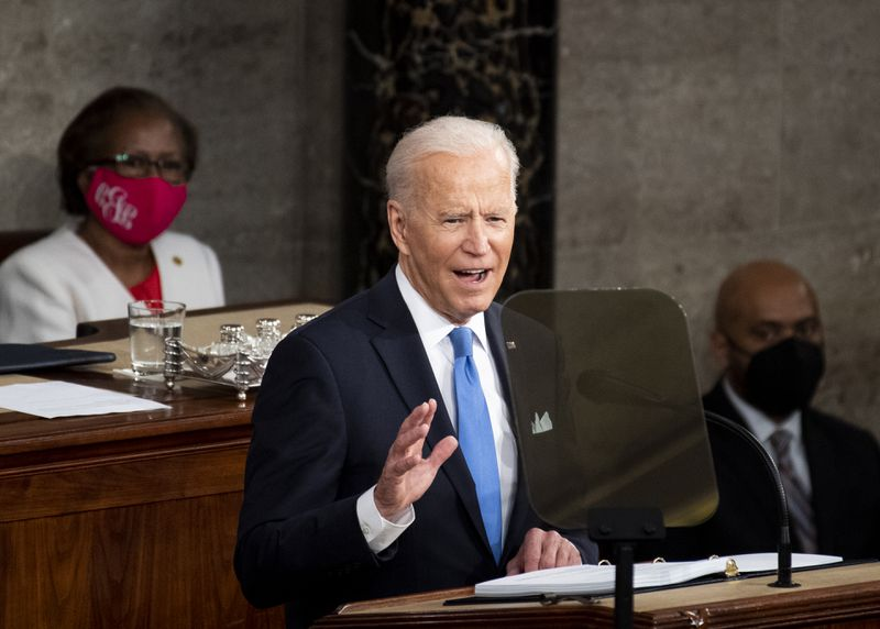 President Joe Biden delivering his first address to a joint session of Congress, on April 28, 2021.