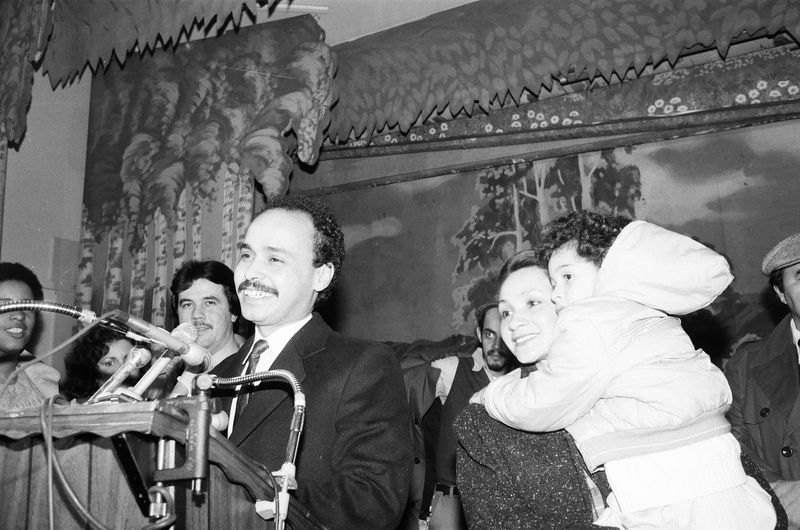 Luis Gutierrez celebrates on election night in 1986 with his wife Soraida and daughter Omaira
