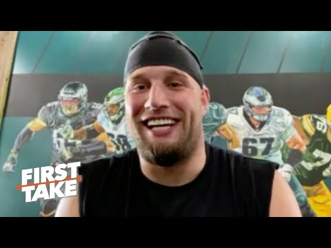 Eagles OT Lane Johnson talks Jalen Hurts, head coach Nick Sirianni and the NFL draft | First Take