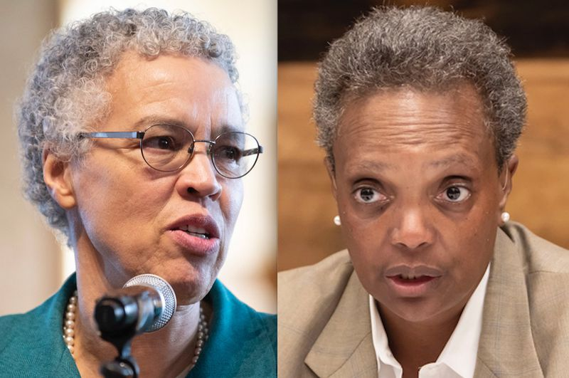 Cook County Board President Toni Preckwinkle, left, and Mayor Lori Lightfoot, right, in 2019.