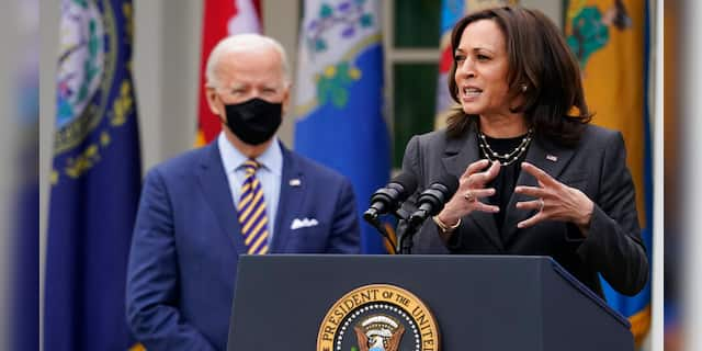 Kamala Harris greeted by protesters during New Hampshire trip to promote infrastructure