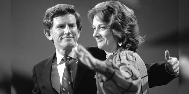 FILE - In this Wednesday, July 19, 1984 file photo, Sen. Gary Hart beams at his wife Lee as she waves at the podium following his address to the Democratic National Convention at San Francisco's Moscone Center. Lee Hart, the wife of former U.S. Sen. Gary Hart of Colorado, has died Friday, April 9, 2021 . She was 85. (AP Photo/File)