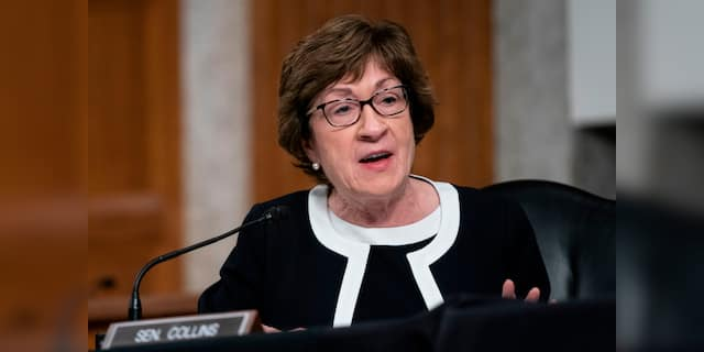 Sen. Susan Collins (R-Maine) speaks during a Senate Health, Education, Labor, and Pensions Committee hearing to examine COVID-19, focusing on an update on the federal response in Washington, D.C., on Sept. 23, 2020. (ALEX EDELMAN/POOL/AFP via Getty Images)