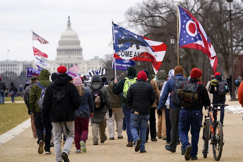 Trump supporters march toward the U.S. Capitol on Jan. 6.
