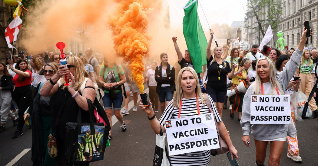 Hundreds Protest Vaccine Passports in London