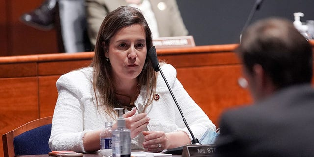 WASHINGTON, DC - JULY 9: Rep. Elise Stefanik (D-NY) questions Secretary of Defense Mark Esper during a House Armed Services Committee hearing on July 9, 2020 in Washington, DC. Stefanik is running for GOP conference chair to replace Rep. Liz Cheney. (Photo by Greg Nash-Pool/Getty Images)