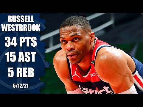 Russell Westbrook records 34 PTS and 15 AST for Wizards against Hawks