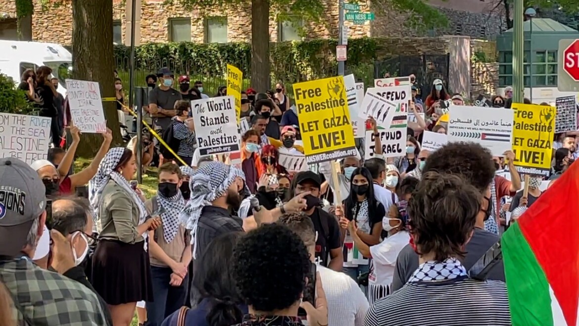 Anti-Israel protest erupts at Israeli embassy in DC