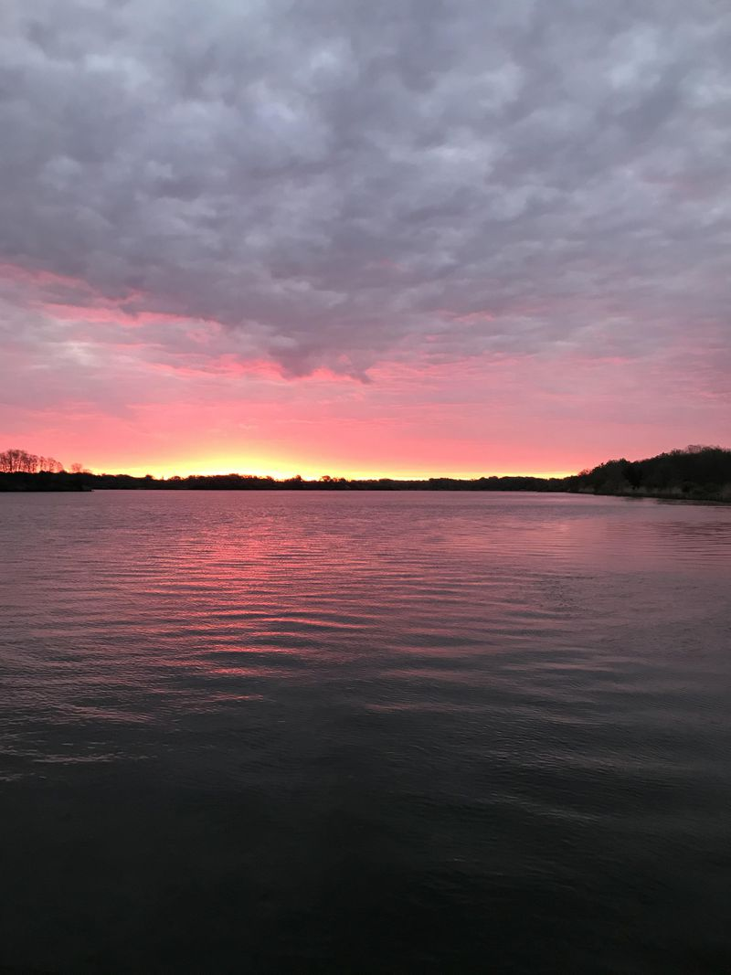 "Sunrise over Braidwood Lake. Credit; Ken ""Husker"" O'Malley"