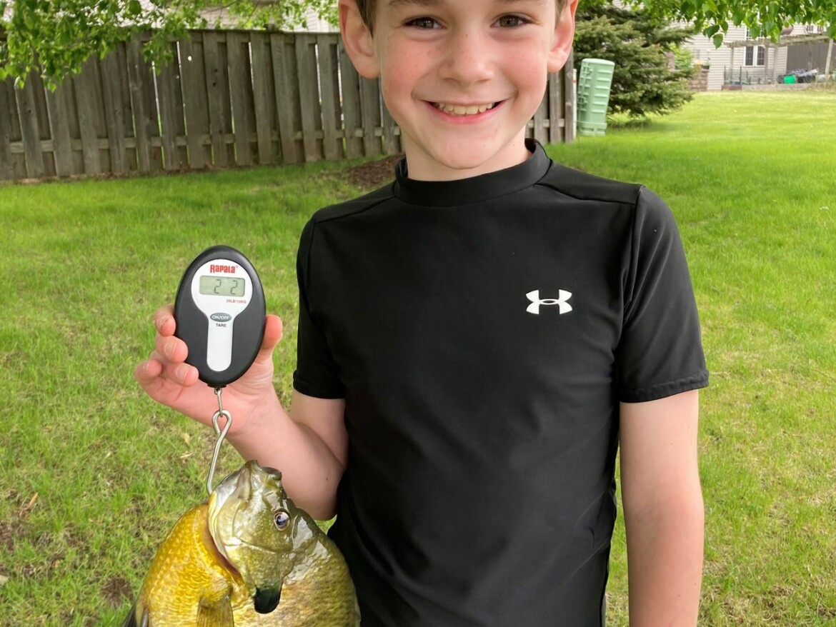 Lifetime bluegill at 9: Young Oliver Byrnes caught a really big bluegill to earn Fish of the Week
