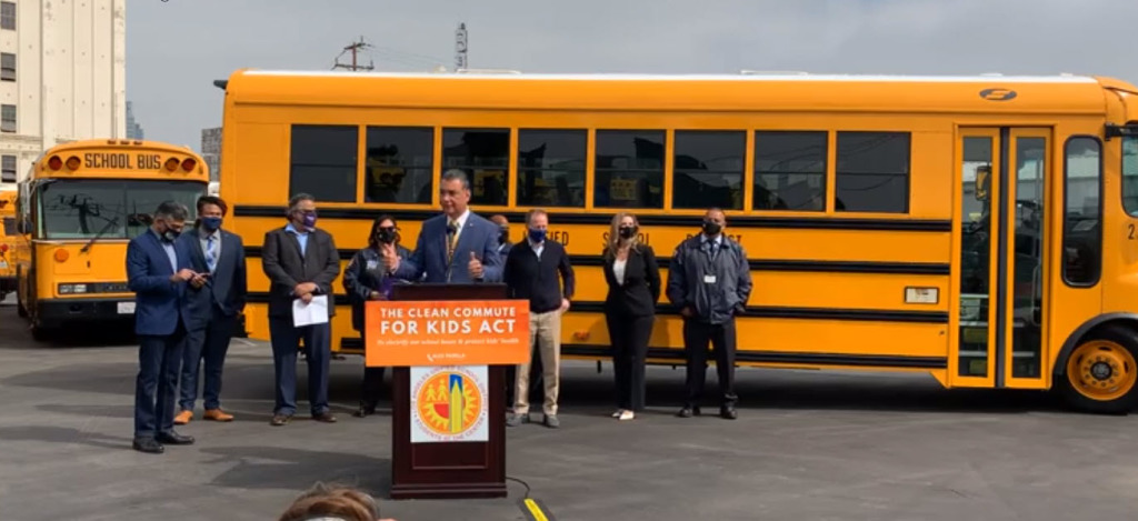 LAUSD, Sen. Padilla pitch power of transitioning to electric school buses