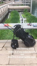 Jeffrey Williams' unique fishing bag along the Chicago River. Provided by Jeffrey Williams