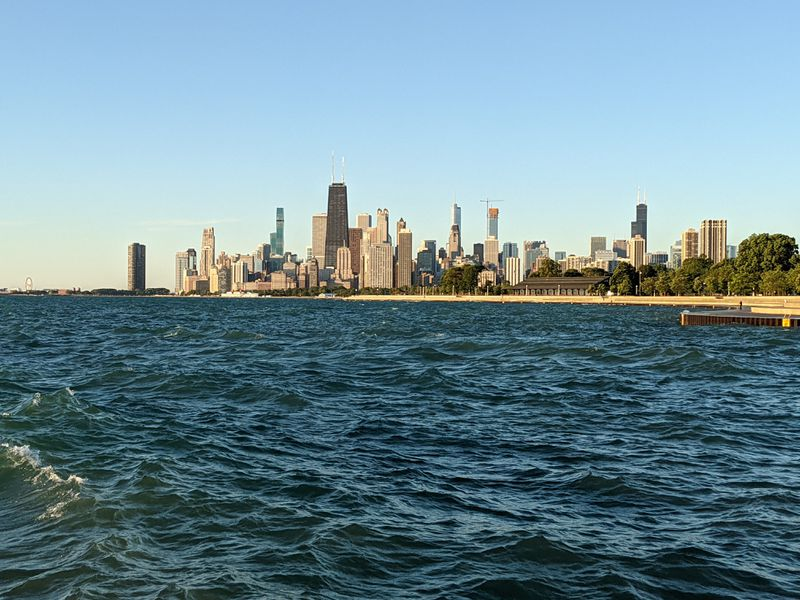 The view of downtown Chicago from outside of Diversey Harboron Wednesday, reopening day for perch fishing. Credit: Dale Bowman