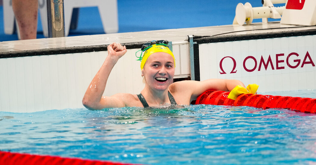 Ariarne Titmus defeats Katie Ledecky in the 400-meter freestyle.