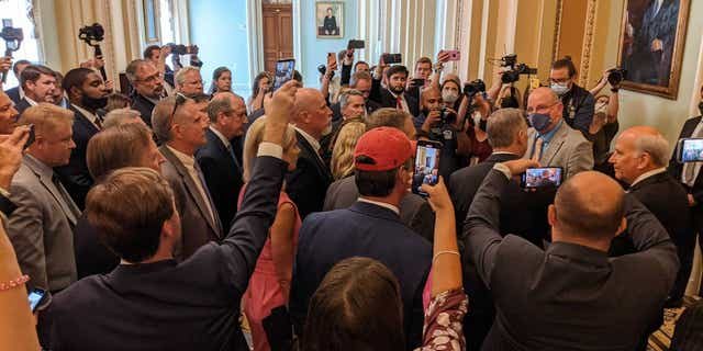 Dozens of House Republicans, staffers march maskless to Senate floor to protest mask mandate