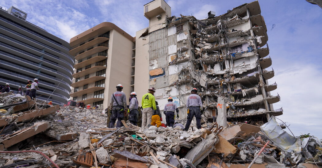 Search and Rescue Work Stops at Collapsed Surfside Condo