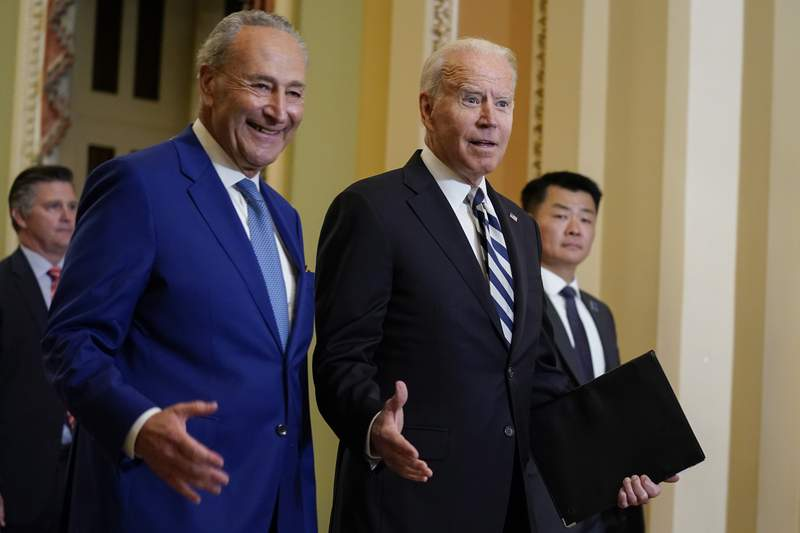 Biden meets Dems at Capitol to firm up support for spending