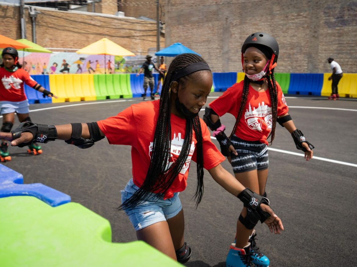 West Garfield Park's new outdoor roller rink draws steady crowd on opening day